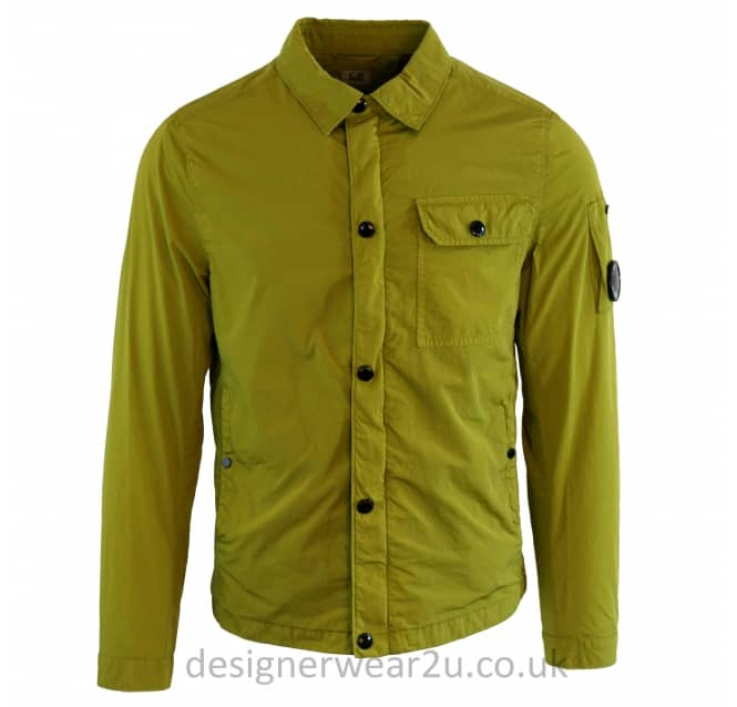 C.P Company CP Company Lime Chrome Nylon Overshirt With Arm Lens