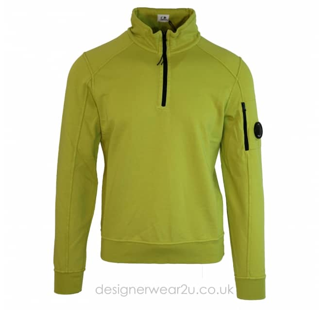 C.P Company CP Company Lime Quarter Zip Sweat With Arm Lens