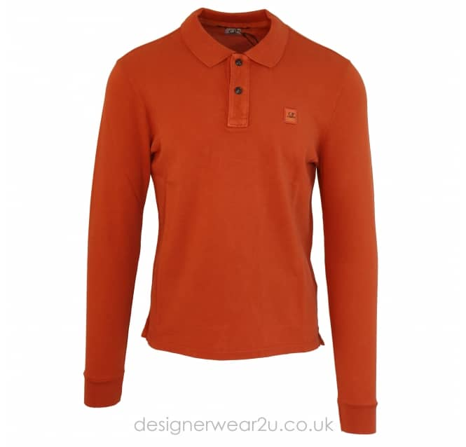 C.P Company CP Company Long Sleeved Classic Polo in Orange