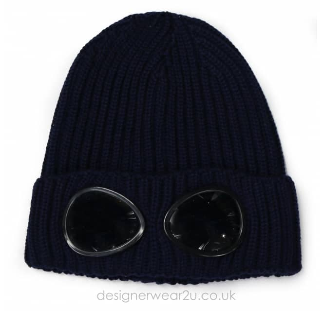 C.P Company CP Company Navy Wool Beanie Hat With Goggles