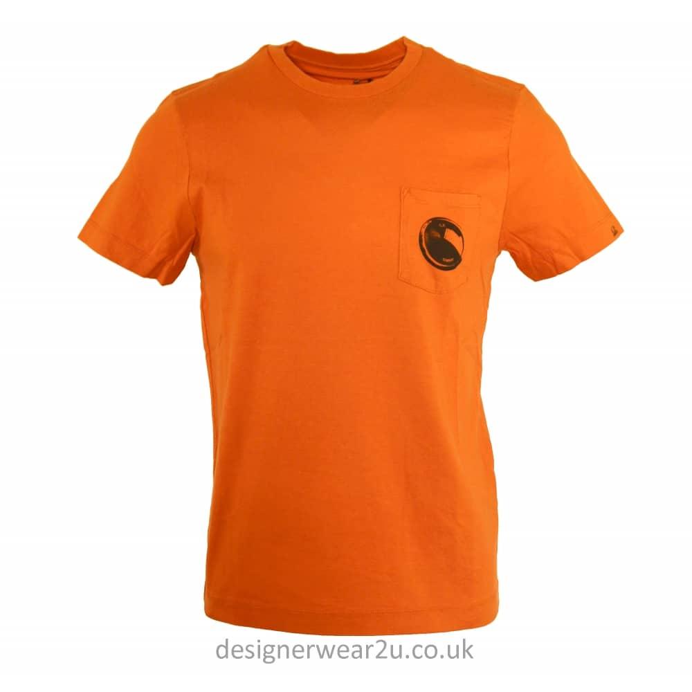 C p company cp company orange t shirt with pocket lens for Print company t shirts