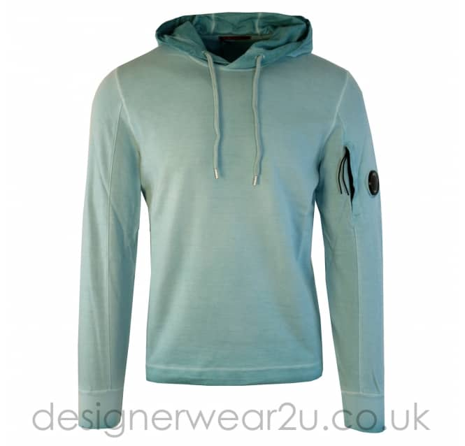 C.P Company CP Company Sky Blue Re-Colour Hooded Sweatshirt With Arm Lens