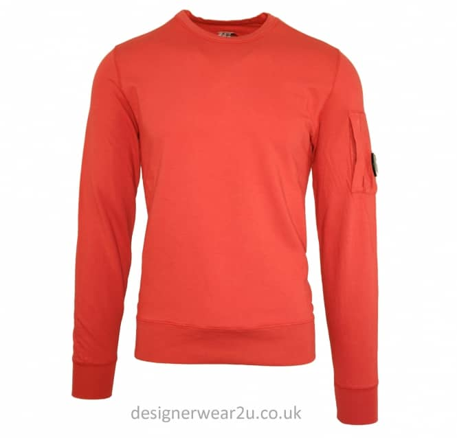 C.P Company CP Company Washed Red Crewneck Sweatshirt With Arm Lens