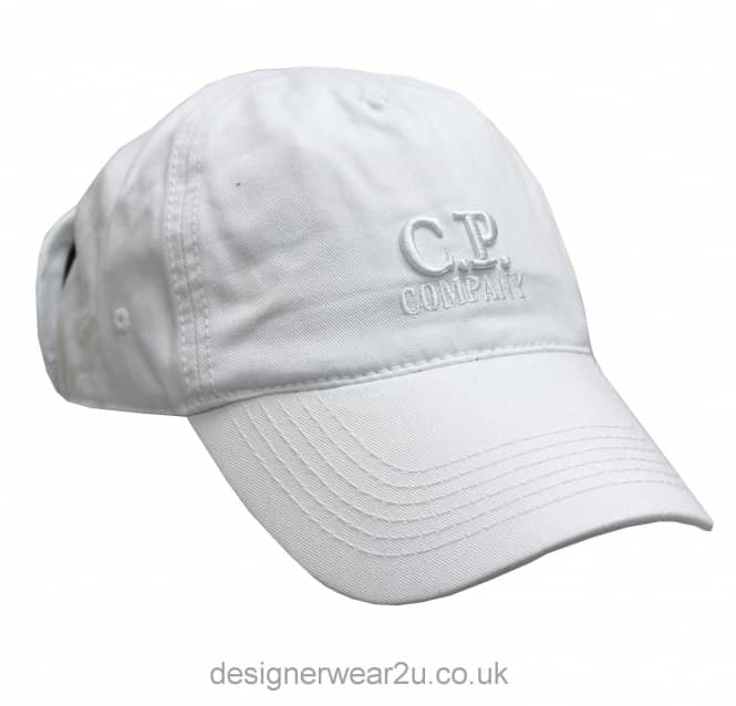 C.P Company CP Company White Goggle Cap With Embroidered Logo