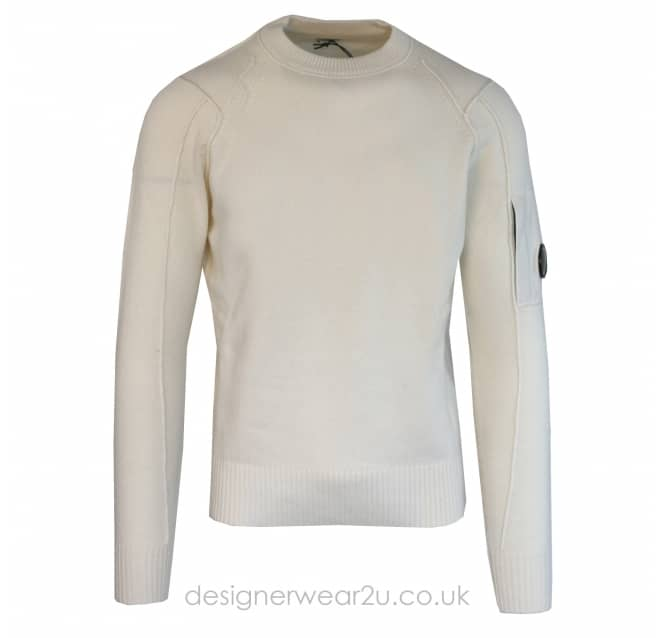 C.P Company CP Company Wool Crewneck Lens Jumper in Cream