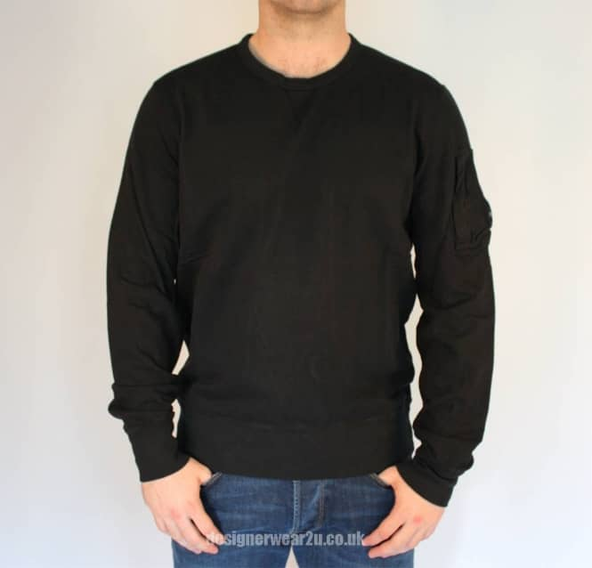 0ee19c59f3b C.P Company CP Company Black Crewneck Sweatshirt With Arm Lens Detail