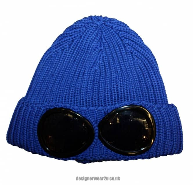 2d38bbde C.P Company CP Company Blue Wool Beanie Hat With Goggles