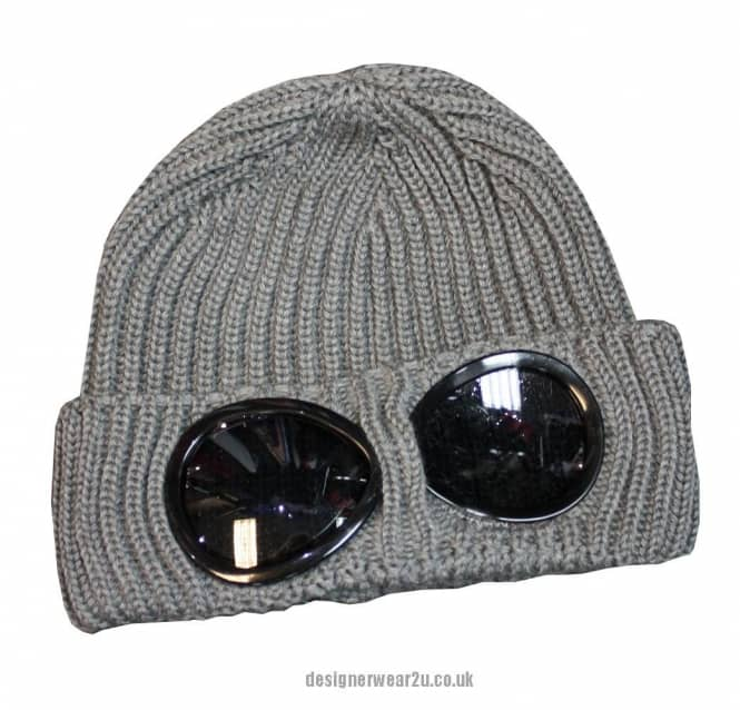 83a7b687c C.P Company CP Company Light Grey Wool Beanie Hat With Goggles
