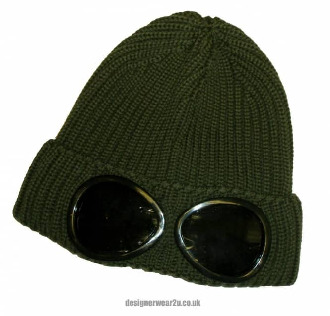 f11502dca2a C.P Company CP Company Military Green Wool Beanie Hat With Goggles ...