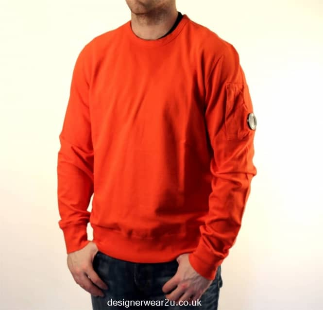 c8598c45c36 C.P Company CP Company Orange Crewneck Sweatshirt With Arm Lens