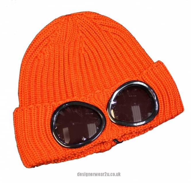 C P Company Cp Company Orange Wool Beanie Hat With Goggles