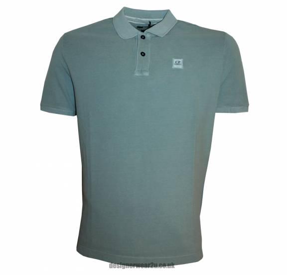 C p company cp company pale blue polo shirt with patch for Polo shirt with company logo