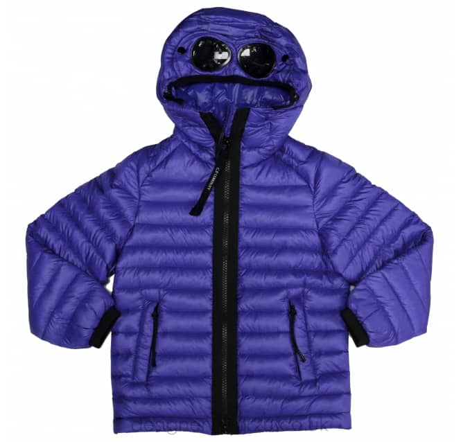 CP Company Undersixteen Kids CP Company Blue Hooded Down Goggle Jacket