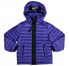Kids CP Company Blue Hooded Down Goggle Jacket