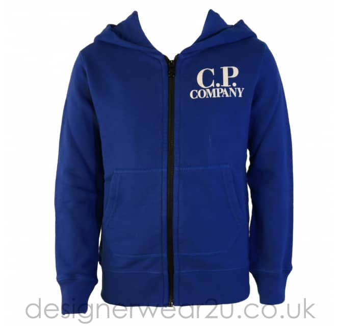 CP Company Undersixteen Kids CP Company Blue Hooded Sweatshirt With Goggles