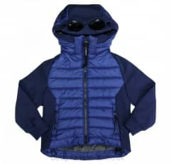 Kids CP Company Blue Padded Hooded Goggle Jacket