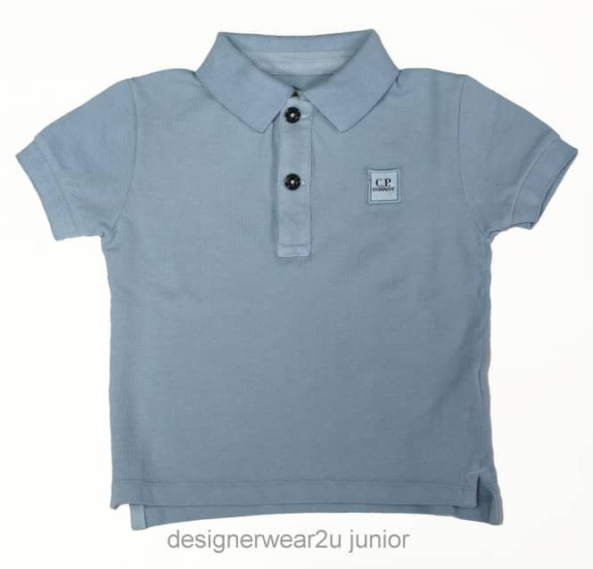 CP Company Undersixteen Kids CP Company Classic Polo Shirt in Ice Blue
