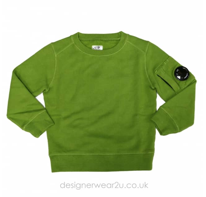 CP Company Undersixteen Kids CP Company Crewneck Lens Sweater in Green
