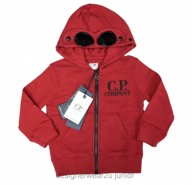 CP Company Undersixteen Kids CP Company Goggle Hooded Sweatshirt in Wine