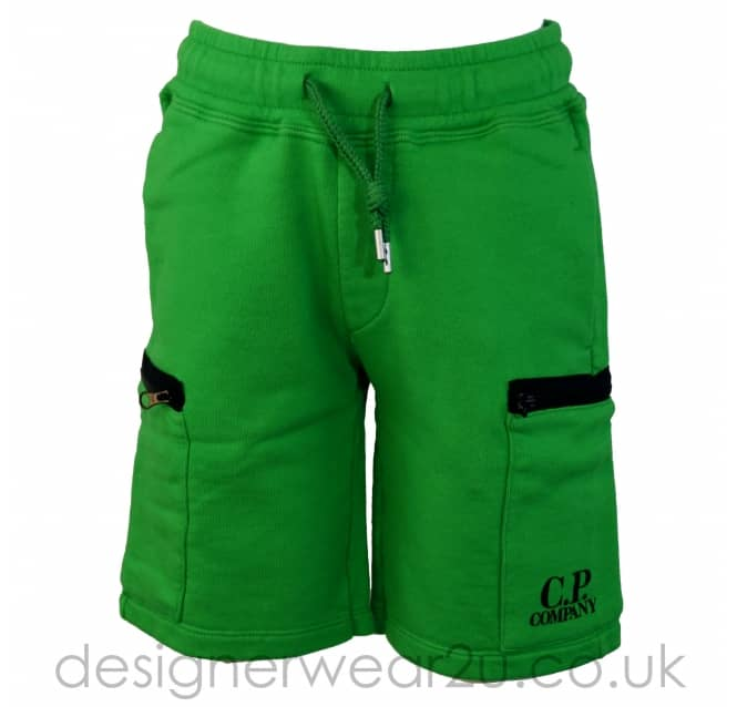 CP Company Undersixteen Kids CP Company Green Sweat Shorts With Zipped Pockets