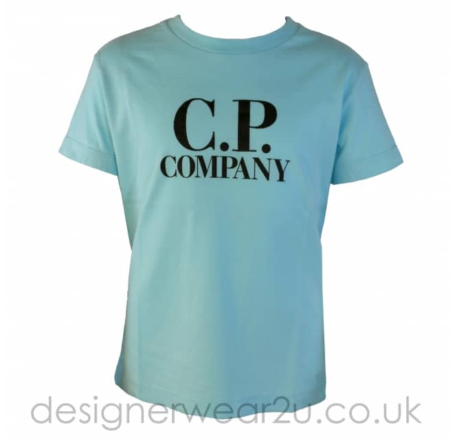 CP Company Undersixteen Kids CP Company Light Blue T-Shirt With Goggle Hood Print