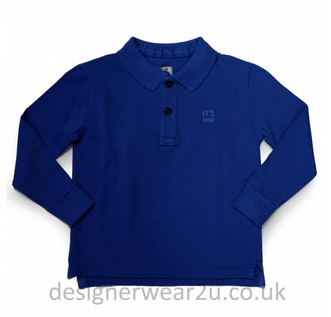 CP Company Undersixteen Kids CP Company Long Sleeve Polo in Blue