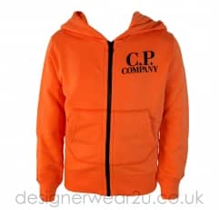 Kids CP Company Orange Hooded Sweatshirt With Goggles