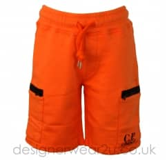 Kids CP Company Orange Sweat Shorts With Zipped Pockets