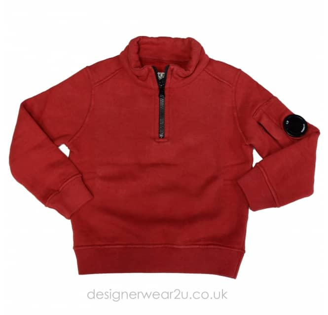 CP Company Undersixteen Kids CP Company Quarter Zipper Sweatshirt in Red