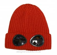 Kids CP Company Wool Goggle Beanie Hat in Orange