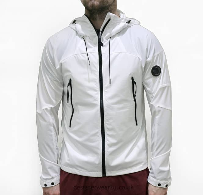 C.P Company CP Company White Hooded Lightweight Jacket With Arm ...