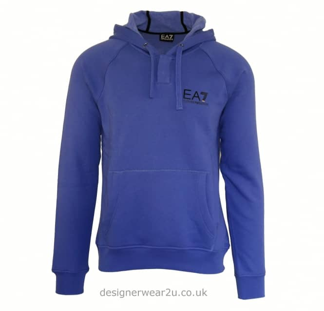 EA7 EA7 Blue Hooded Sweatshirt With Button Neck