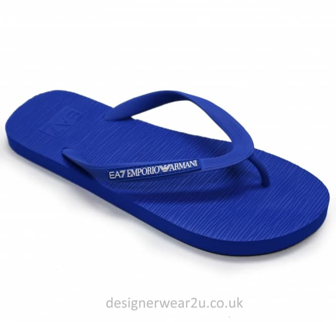 EA7 EA7 Blue Rubber Flip Flops With Toe Post