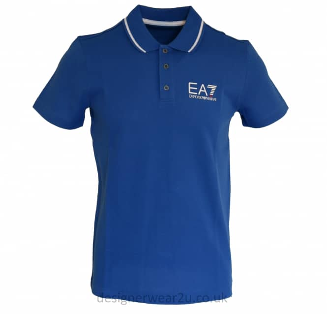 EA7 EA7 Collar Trimmed Polo Shirt in Blue