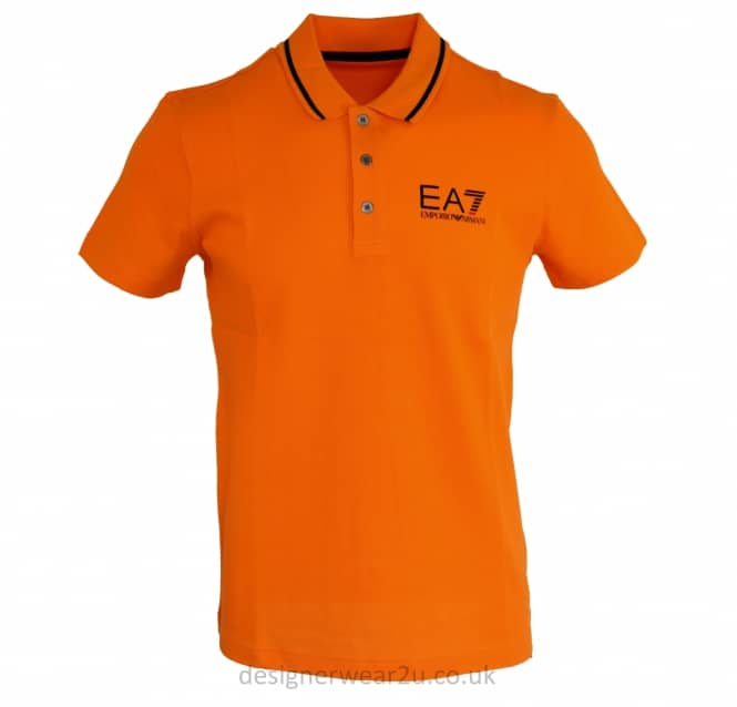 EA7 EA7 Collar Trimmed Polo Shirt in Orange