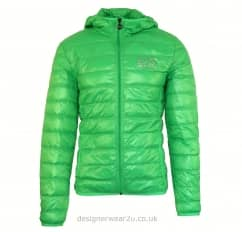 EA7 Green Lightweight Packable Hooded Down Jacket