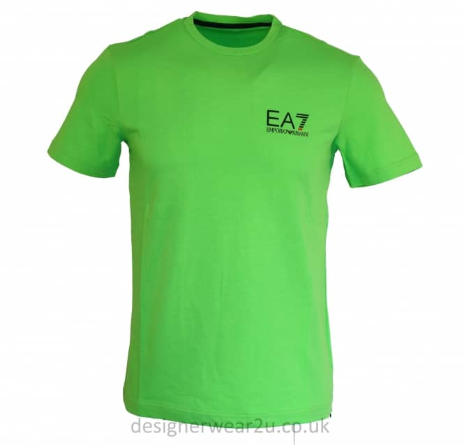 EA7 EA7 Green Stretch Cotton T-Shirt With Printed Logo