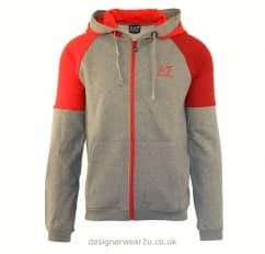 EA7 Grey Hooded Sweatshirt With Two Tone Panels