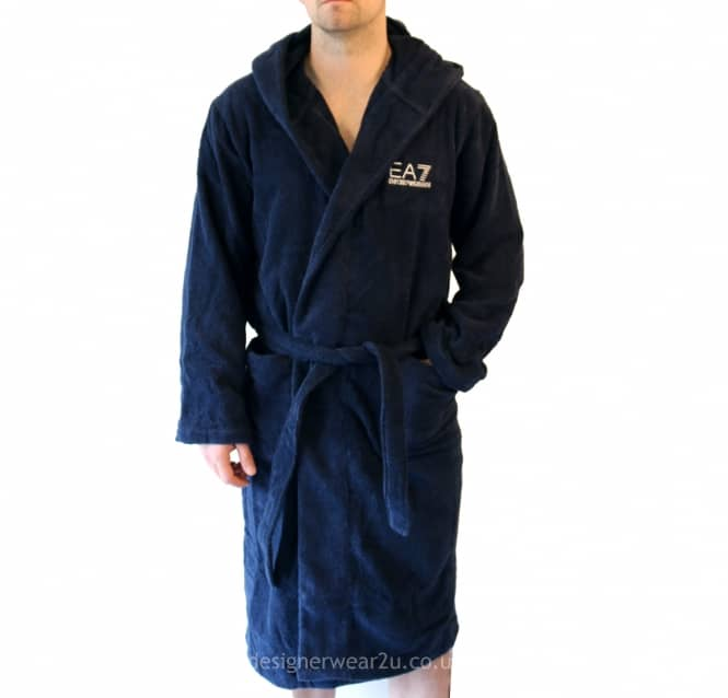 EA7 EA7 Navy Bathrobe With Embroidered Logo