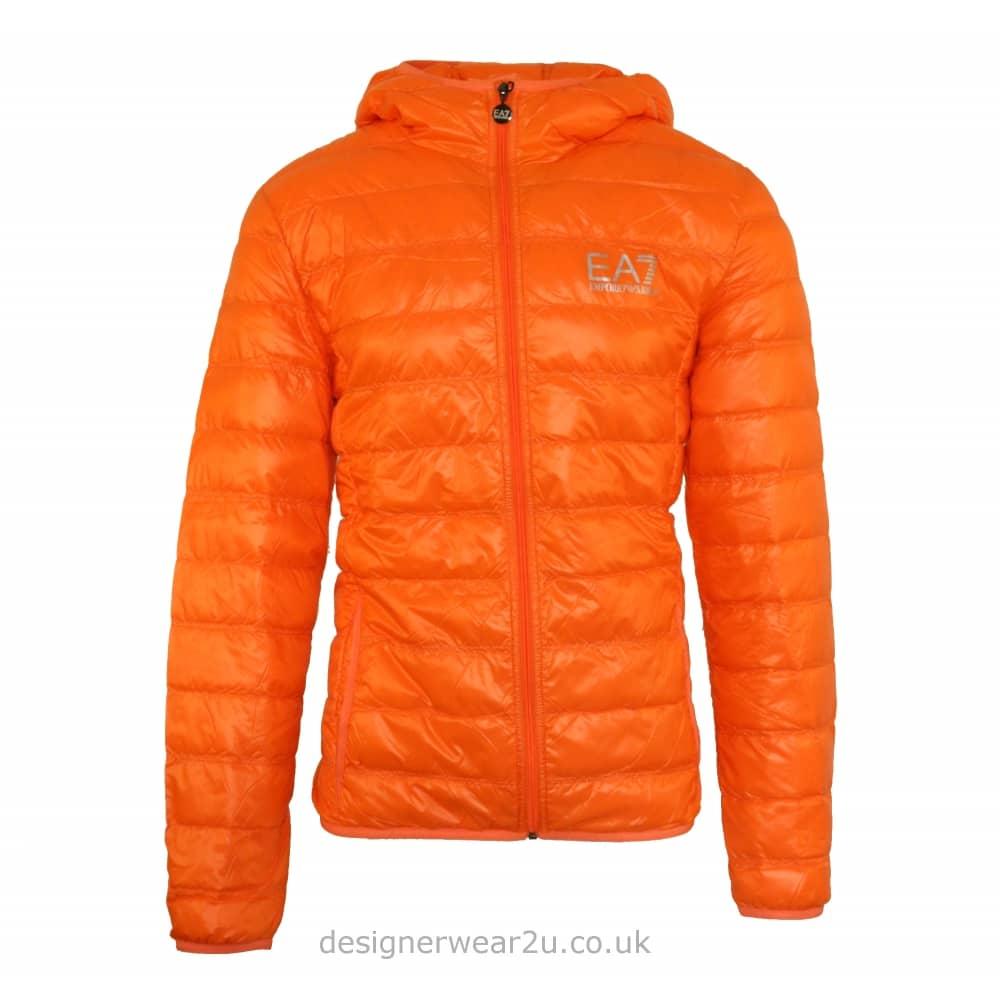 Ea7 Orange Lightweight Packable Hooded Down Jacket