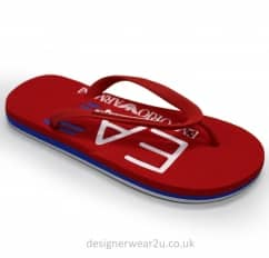 EA7 Red Flip Flops With Contrast Coloured Sole