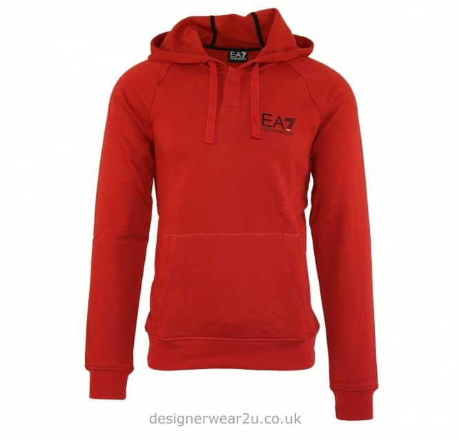 EA7 EA7 Red Hooded Sweatshirt With Button Neck