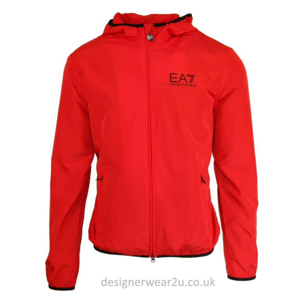 EA7 Red Nylon Lightweight Hooded Jacket - Jackets from ...