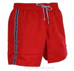 EA7 Red Sea World Shorts With Taped Side Logo