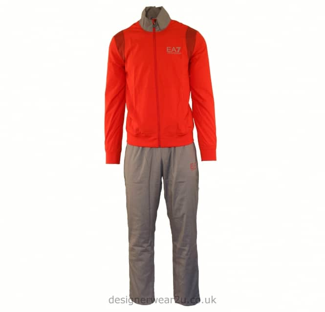 EA7 EA7 Red Tri Tonal Woven Polyester Tracksuit