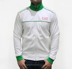 EA7 White & Green Cotton Tracksuit
