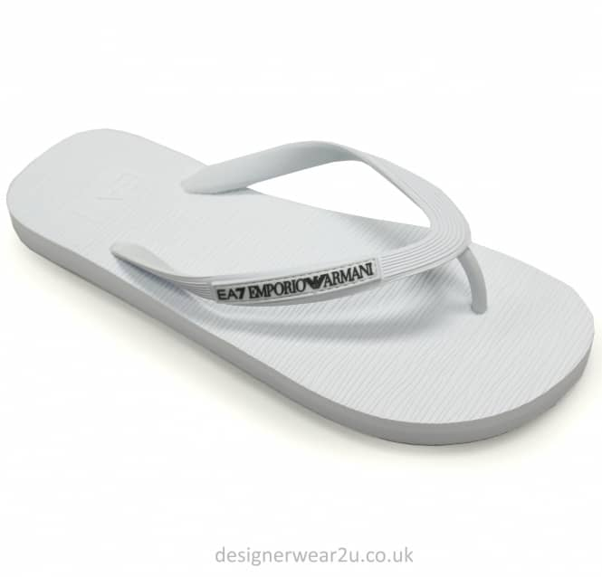 EA7 EA7 White Rubber Flip Flops With Toe Post
