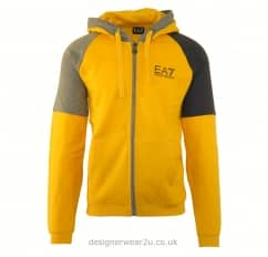 EA7 Yellow Hooded Sweatshirt With Two Tone Panels