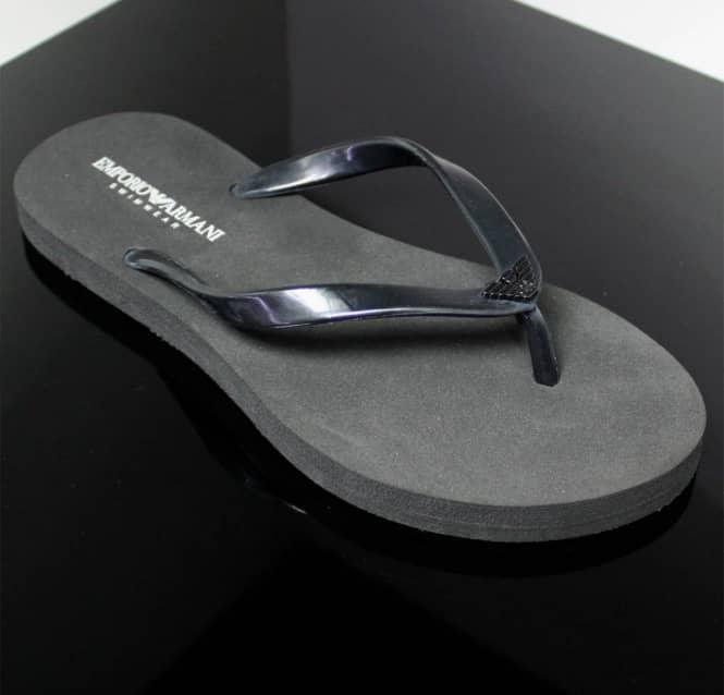e0d1d9104 Armani Jeans Ladies Emporio Armani Black Ladies Flip Flops With ...
