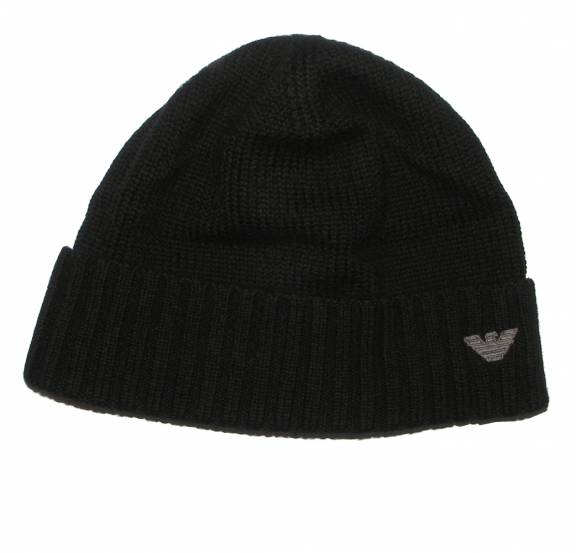 32b7a5d95d8ce EA7 Emporio Armani Black Wool Beanie Hat with embroidered logo ...